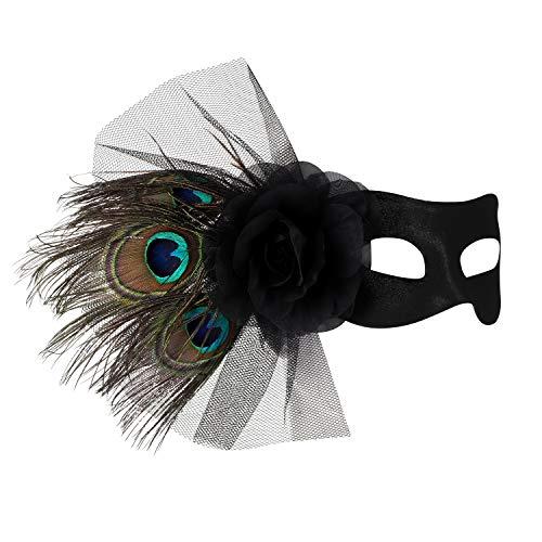Máscara veneciana para mujer o niña, con velo negro, accesorio para disfraz de carnaval o bodas