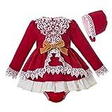 Ju petitpop Naissance Poupon Bébé Hiver Princesse Robe Fille Rouge Dentelle Vêtements Costume avec Coiffure
