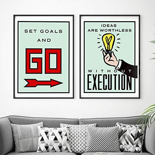 Canvaskunst schilderij bordspel kaart poster en print minimalistische moderne muur foto's voor kantoor kamer Home Decor 50x70cmx2pcs frameloze