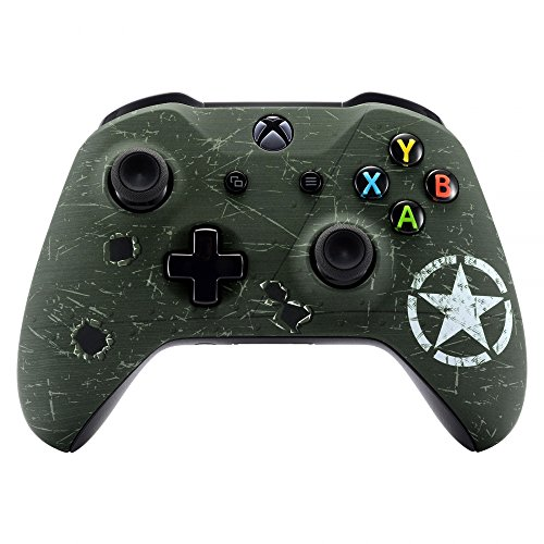 eXtremeRate WWII US Army Overlord Faceplate Cover, Soft Touch Front Housing Shell Case, Comfortable Soft Grip Replacement Kit for Microsoft Xbox One X & One S Controller - Controller NOT Included