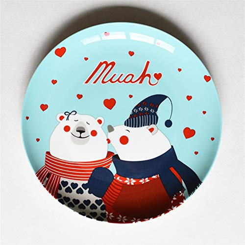 JSJJAQA Dinner plate 8 inch Creative Christmas Bone China Dinner Dish Plate Breakfast Kitchen Plates Cake Plate Snack Food Decorative Tableware Gift kitchen (Color : Warm)