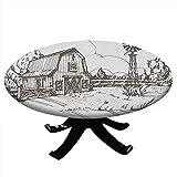Mantel redondo con bordes elásticos, rústico granero granero ilustración dibujada a mano campo prado rural, diseño de molino de viento, 48 pulgadas de diámetro, marrón oscuro y blanco