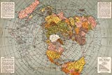 Riley Creative Solutions  1943 Flat Earth World Map | Polar Azimuthal Equidistant Projection Map | Large Wall Art Poster Print (3 Sizes) (23'x34')