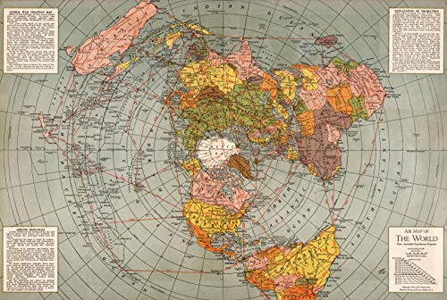 Riley Creative Solutions  1943 Flat Earth World Map   Polar Azimuthal Equidistant Projection Map   Large Wall Art Poster Print (3 Sizes) (23'x34')