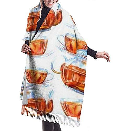 Cathycathy patroon van een glazen theepot en kopje zwarte thee witte sjaal wrap winter warme sjaal cape grote zachte sjaal wrap