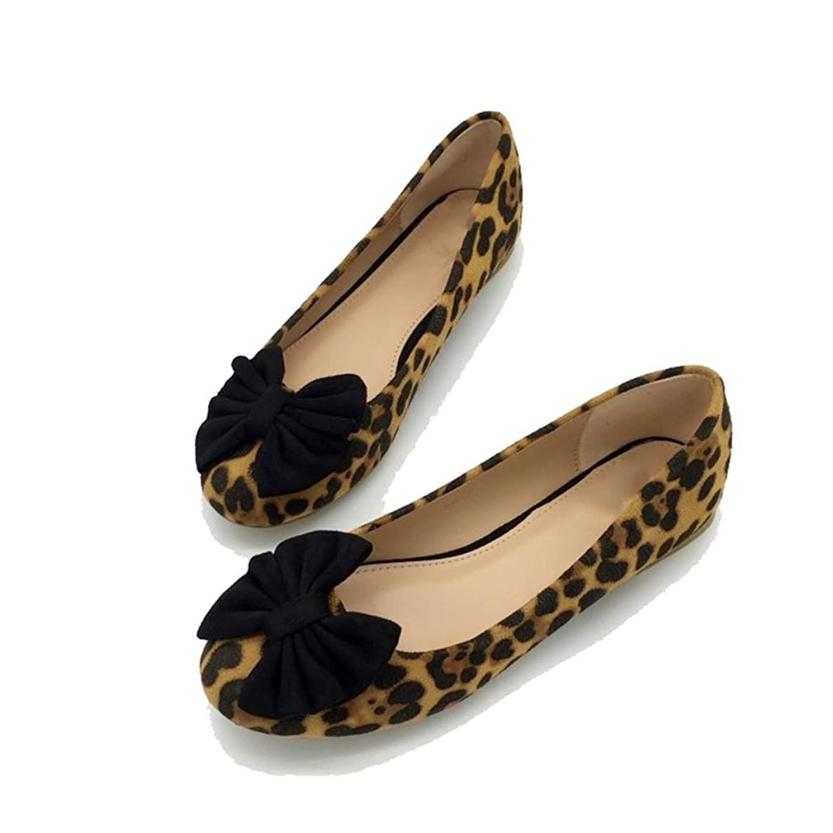 August Jim Women Flats Shoes,Leopard Print Bowtie Round Toe Fashion Casual Shoes