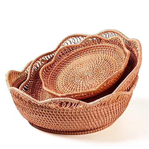 Aojing LHjin-Bread Bins, Woven Rattan Bread Baskets, Fruit Basket Set, Stand Snack Food Dishes and Plates Sets, Home Dried Fruits Storage Tray (Color : Small and Large 2pcs)