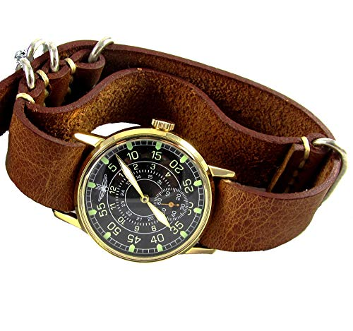 Pobeda Aviator Mens Vintage Wrist Watch Vintage 1980s USSR Rare Mens Gift (Brown NATO)
