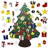 BluVast Árbol de Navidad de Fieltro, Fieltro Árbol de Navidad con 30 Ornamentos Desmontables árbol de Navidad de 3.3ft para Regalos...