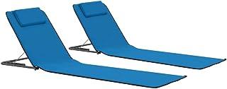 Festnight Sillas de Playa Estera de Playa Plegable Tela Azul
