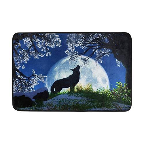 tyui7 Anti Slip Welcome Door Mat Full Moon Wolf Howling Entrance Doormat Indoor Outdoor for Home Decor,40x60 cm