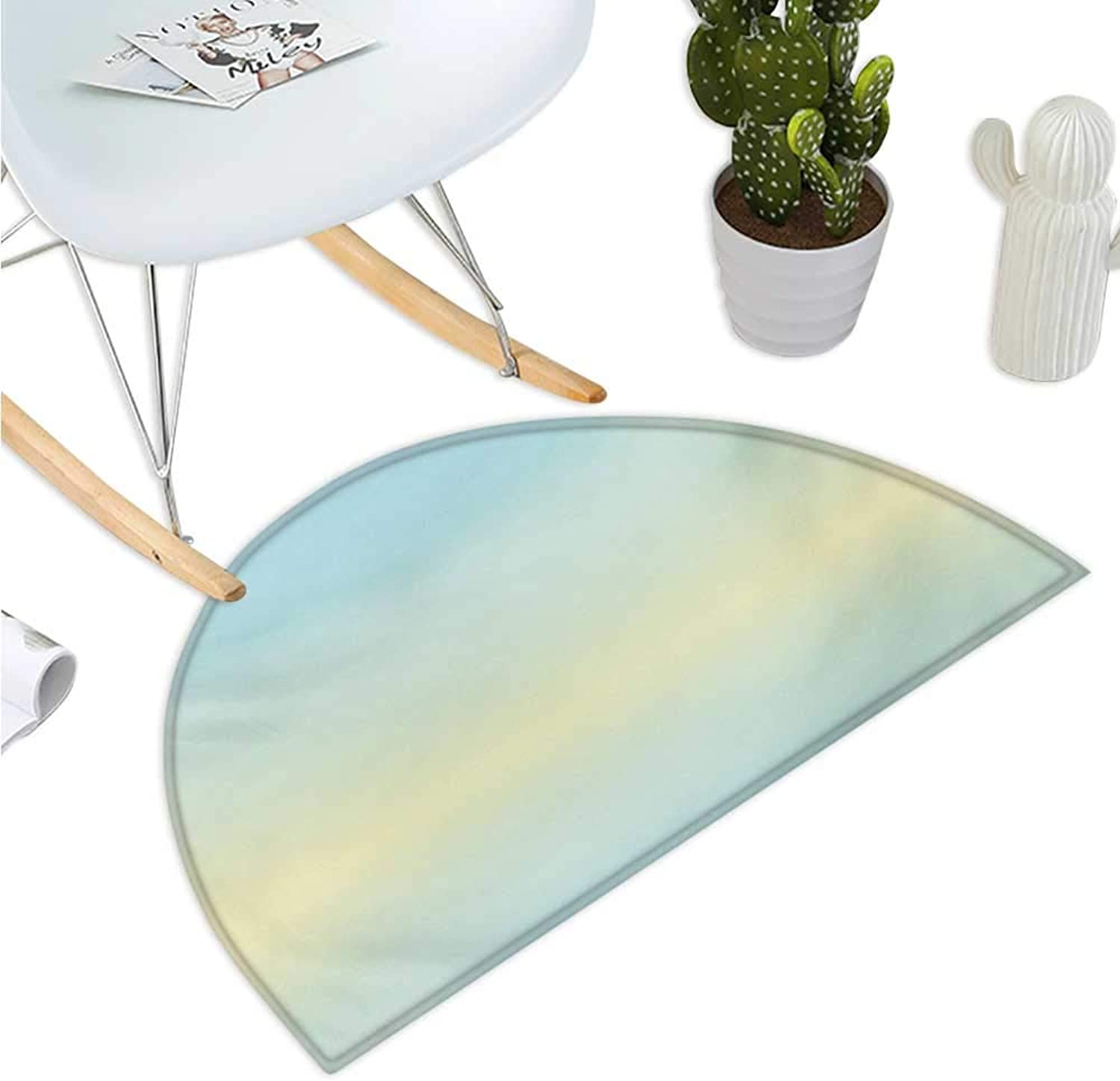 Teal Semicircular Cushion Defocused Abstract Design in The Center bluerred color Elements Sky bluee Like Artwork Bathroom Mat H 47.2  xD 70.8  Baby bluee
