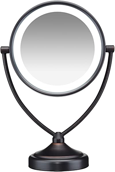 Conair Natural Daylight Double Sided Lighted Makeup Mirror Lighted Vanity Makeup Mirror 1x 10x Magnification Oiled Bronze Finish
