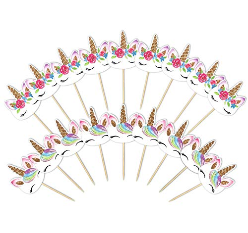 72 Pieces Unicorn Cupcake Toppers Double Sided with Two Different Styles for Birthday Baby Shower Party Decorations Supplies