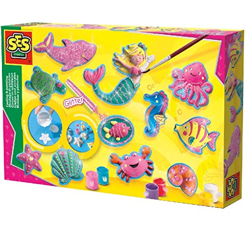 SES Creative Moldear y Pintar - Figuras del océano - Kits de Pintura y Modelado para niños (6 Pieza(s), Multi, 5 año(s), 300 mm, 40 mm, 200 mm)