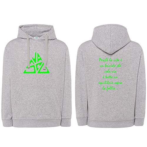Sudadera unisex con capucha personalizada con impresión de Vasco Rossi Sally y logotipo de Tributo Equilibrio gris y verde turquesa M
