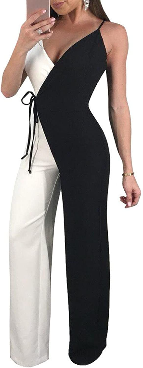 Vamvie Women's Sexy V Neck Strap Wide Leg Sleeveless Jumpsuit Patchwork Long Pants Casual Elegant Party Romper