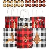 24 Bolsas de Cuadros de Blanco Negro Rojo Navidad y 24 Pegatinas Navidad a Cuadros Búfalo Bolsa Navideña a Cuadros de Búfalo de 5,9 x 3,1 x 8,3 Pulgadas con Árbol Navidad Copo de Nieve Reno