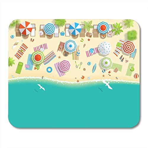 Mauspads Reise Sunny Beach Blick von oben Sommer Sea Sand Regenschirme Handtücher Stühle Solarien Palm Objekte Top-Mausunterlage für Notebooks, Desktop-Computer Bürobedarf 10x12 Zoll