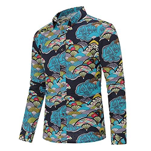 Camicia Elegante da Uomo Shirt Elegante a Maniche Lunghe in Lino Stampato Camicia Casual Fantasia Floreale Tops Pattern Unico cs1 3XL