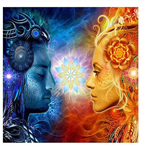 Tantra Shiva and Shakti Wandkunst Leinwand Hindu Götter Pop Art Poster An Der Wand Gemälde Bilder Für wohnzimmer-60x60 cm Kein Rahmen