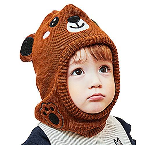 Vobony Sombrero de Invierno Bebe Cálido Bufanda con Capucha Gorros de Punto Animales Lindos de Orejera Sombrero y Bufandas Invierno Pasamontañas para Niño Niña (Marrón, S)