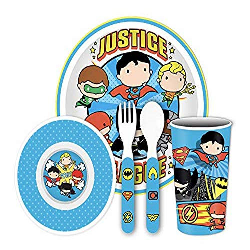 Silver Buffalo Justice League Chibi Boys 5-Piece Melamine Dinnerware Set, with Plate, Bowl, Cup, Fork and Spoon, Blue and White