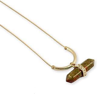 Karatcart Gold Long Chain Brown Amethyst Necklace for Women