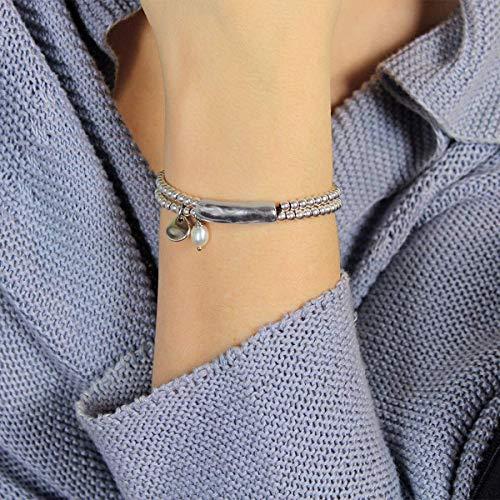 Handgemachtes Armband mit Leder und natürlichem Flussperlen-Charme von Intendenciajewels - Perlenarmband - Lederarmband und Perlen - Geschenk für Frauen -...