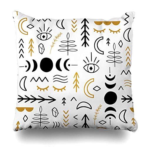 N\A Throw Pillow Cover Square Style Tattoo Ethnic Magic Moon Florals Scandinavian Yoga Black Bohemian Boho Cat Funda de cojín Decoración para el hogar Diseño Funda de Almohada