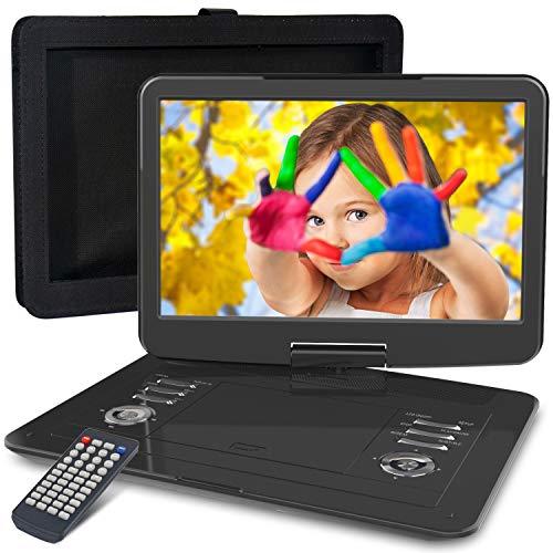 DVD Portátil 15.5' para Niños, WONNIE Reproductor de DVD para Coche en Viaje, Pantalla Giratoria, 6 Horas Batería Recargable, Soporta SD/USB, Sincronizar con TV, con Soporte de Reposacabeza