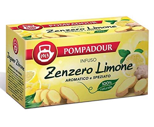 Pompadour 1913 Infusion Ginger Lemon Aromatic and Spiced 100% natural y sin cafeína - 1 x 20 bolsitas de té (36 gramos)