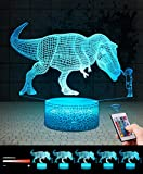 <span class='highlight'><span class='highlight'>QiLiTd</span></span> 3D Dinosaur Boy Gifts Toys Decor LED Night Light with Remote Control, 16 RGB Colours Bedside Lamp, Smart Touch Adjust Brightness, Birthday Present Decoration for Baby Boy Girl Kids Women Men