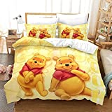 Neighbor Axin Winnie The Pooh Bedding Set Single Children Cartoon Duvet Cover Set 2 Pieces Include 1 Duvet Cover + 1 Pillowcases, Soft and Comfortable Cartoon Bedding for Kids (W01,Single 135x200cm)