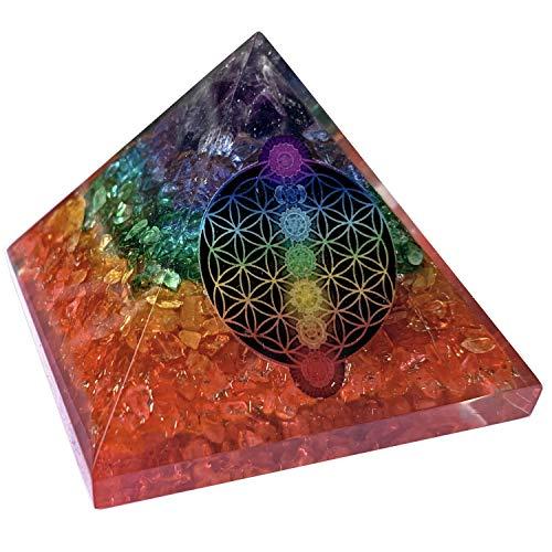 CHONIT Orgonit Pyramide Chakra-Mix jaspeados con símbolo Flor de la Vida, EMF-protección contra la radiación, pequeño con Bergkristall como Deko para el hogar