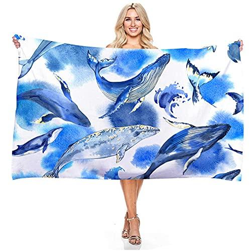 Alrededor de 140x180cm Serie de océano Ballena Delfines HD patrón Exquisito impresión Suave cómodo Playa Toalla de Playa-C1 Toalla de baño de suavidad y Alta absorción