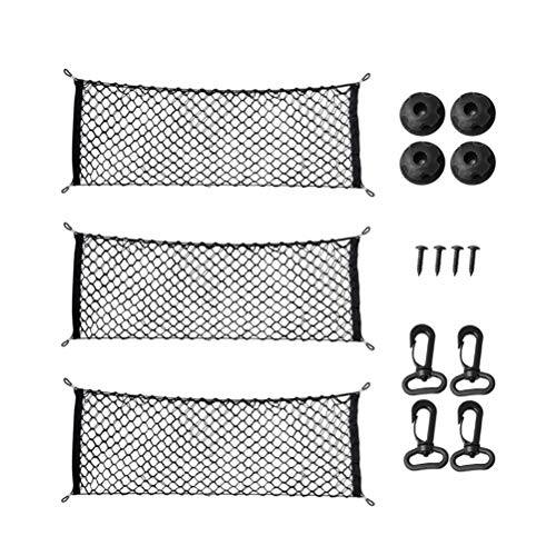 RetroFun Universal Cargo Net Stretchable Elastic Truck Car Organizer Net Black Mesh Storage Pouch Bag for Kids Luggage for SUV,Truck Bed or Trunk