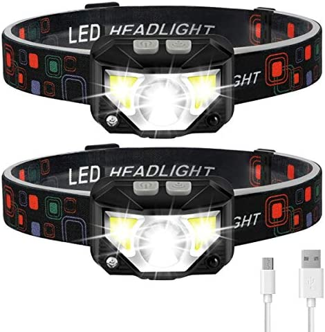 Headlamp Flashlight LHKNL 1100 Lumen Ultra Light Bright LED Rechargeable Headlight with White product image