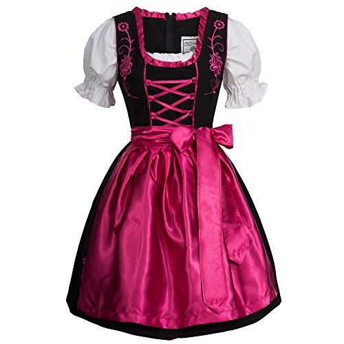 Gaudi-Leathers Damen SW2550 Dirndl, Schwarz (Pink Schwarz 050), 38