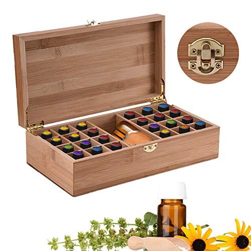 BrilliantDay Holz-Aufbewahrungsbox für ätherische Öle, 25 Gitter, drehbar, für ätherische Öle, Aromatherapie, ätherische Öle, Vitrinenhalter, für Reisen und Präsentationen