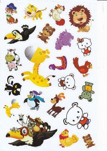 Oiseaux Vache Girafe poule Animaux autocollants 23 pièces 1 feuilles 270 mm x 180 mm Stickers bricolage enfants PARTY