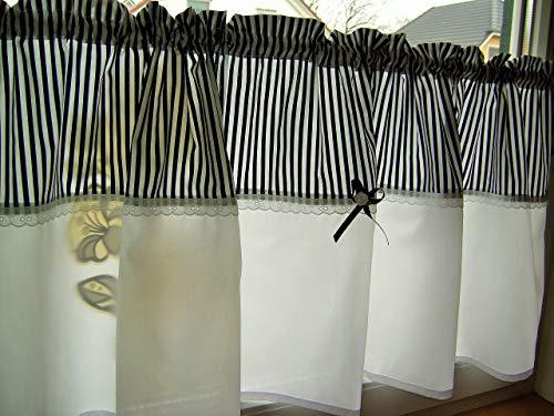 Scheibengardine Bistrogardine Streifen, schwarz oder Farbwahl Baumwolle Handmade 1,30 x 45cm