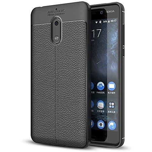NALIA Leder-Erscheinungsbild Hülle kompatibel mit Nokia 6, Ultra-Slim Silikon Case Cover, Dünne Phone Schutzhülle, Stoßfeste Etui Handy-Tasche Backover Handyhülle Bumper, TPU Smartphone Gummihülle - Schwarz