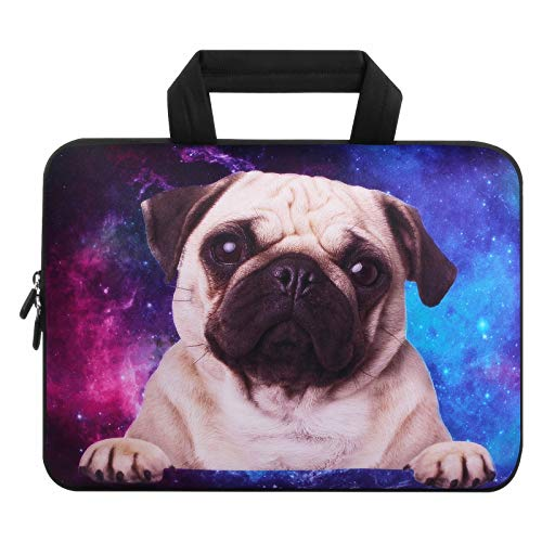 Violet Mist 11 11.6 12 12.1 Inch Laptop Sleeve Bag Carrying Case Neoprene Notebook Protective Bag Chromebook Tablet Cover with Handle for Office Men Women(Galaxy Pug,12')