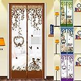 Mosquitera Puerta, Nueva Cortina del Acoplamiento magnético Insecto de la Mosca del Mosquito del Insecto cifrado Protector de Pantalla (Color : Coffee, Size : 90x200(35x79inch))