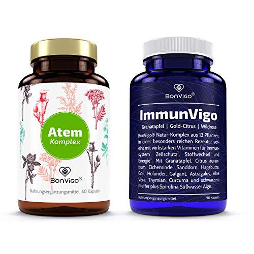 BonVigo Atem-Immun-Power hochdosiert - Pflanzen-Komplex, Multivitamin und Minerale breit synergetisch wirkend - Vereint unsere besten Rezepturen für Atem, Lunge, Immunsystem - Günstig im DUO