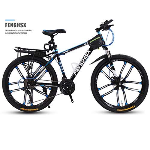 KYH Bicicletta Maschio Adulto Mountain Bike Doppio Freno A Disco di Assorbimento di Scossa off-Road Maiusc Black And Blue Ten Knives One Wheel- 30 Speed_24 inch