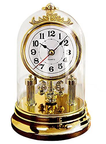 Weltbild Tischuhr Gold mit Glasglocke - Standuhr Nostalgisch Deko Vintage Wohnzimmer Uhr mit Glashaube Kleine Uhr zum Hinstellen als Kaminuhr Antik Drehpendeluhr Glasglocke Deko Home Table Clock