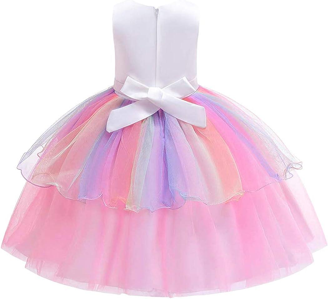 HenzWorld Little Girls Dress Rainbow Unicorn Costume Clothes Tutu Outfits Princess Birthday Party Jewelry Accessories