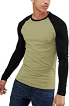 Men's Muscle Fit Long Sleeve Contrast Raglan Baseball T Shirt